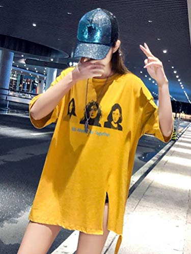 A Estate L Corte Irregolare Donna T shirt Con amp;yq Spacco O Stampato Giallo Maniche Lunghe 6waX0txq