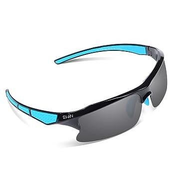 EWIN E20 Gafas de Sol de Deporte Polarizadas, UV400 Protección, Gafas Irrompibles (Negra