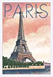 Paris, France - Eiffel Tower and River - Lithograph Style (24x36 Giclee Art Print, Gallery Framed, White Wood)