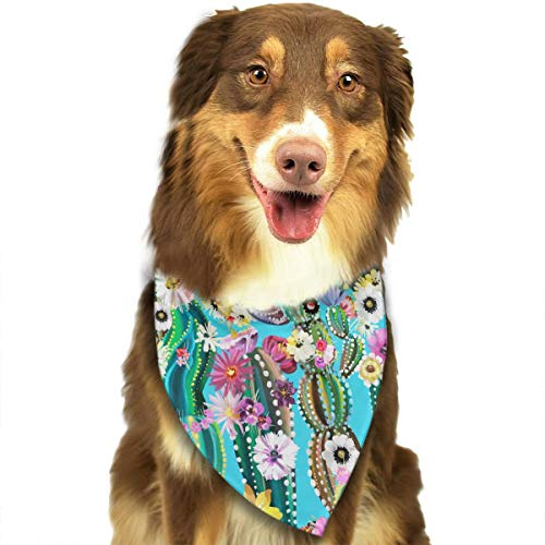Hand Painted Blooming Cactus Triangle Bandana Scarves Accessories for Pet Cats and Dogs - Gifts
