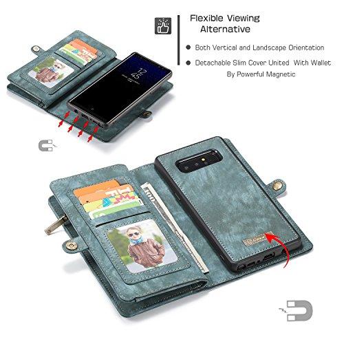 JIALUN-Caja del teléfono o cubierta Funda de billetera CaseMe Samsung Galaxy Note 8 con funda extraíble de TPU para PC, de lujo, hecha a mano, cuero TRIFOLD Protege tu teléfono ( Color : Red ) Blue