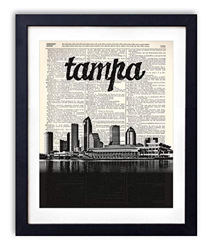 Name Art Print - Tampa Skyline With Name Vertical Dictionary Art Print 8x10