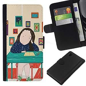 BearCase / Cuero de la tarjeta la carpeta del tirón Smartphone Slots Protección Holder /// Sony Xperia Z1 L39 /// Pintura abstracta Señora Arte