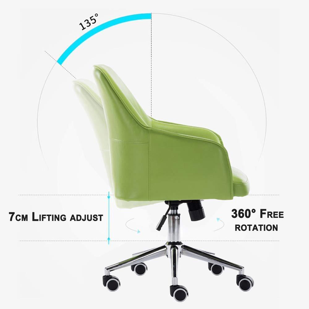 Svängbar kontorsstol mellanrygg justerbar höjd PU-läder säte korsryggsstöd och tyst Caster-hem/kontorsmöbler Brun