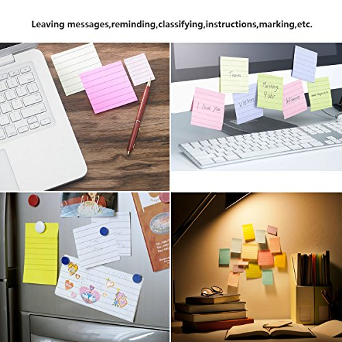 Sticky Notes Lined 3x3, 10 Pads/Pack, 70 Sheets/Pad, 5 Colors, Individually Package Colorful Self-Stick Notes for Home, Office by UDOIT (Image #5)'