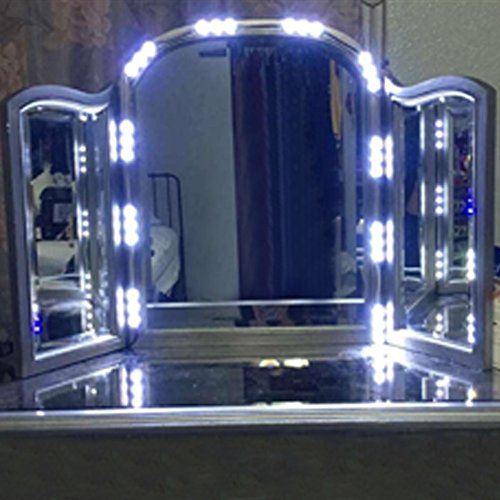 vechic led light for cosmetic makeup vanity mirror lighted with dimmer white furniture cabinets. Black Bedroom Furniture Sets. Home Design Ideas