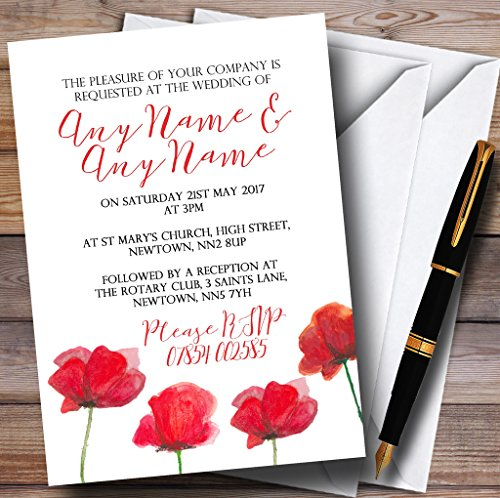 Poppy Wedding Invitation - Stunning Watercolour Poppies Red Personalized Wedding Invitations