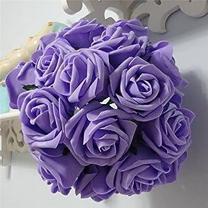 50 pcs Artificial Flowers Foam Roses for Bridal Bouquet Bouquets Wedding Centerpieces Kissing Balls (Lavender)