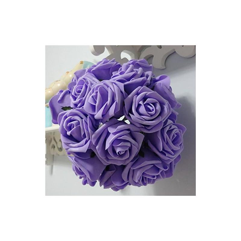 silk flower arrangements 50 pcs artificial flowers foam roses for bridal bouquet bouquets wedding centerpieces kissing balls (lavender)
