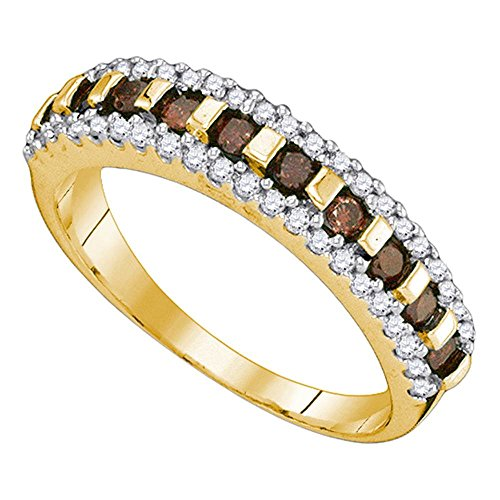 Size - 7 - Solid 10k Yellow Gold Round Chocolate Brown and White Diamond Channel Set Wedding Band OR Fashion Ring (1/2 -