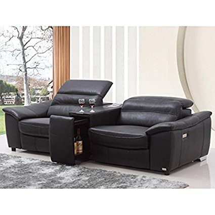 Amazon.com: VIG- Donovan Divani Casa Modern Black Italian Leather ...