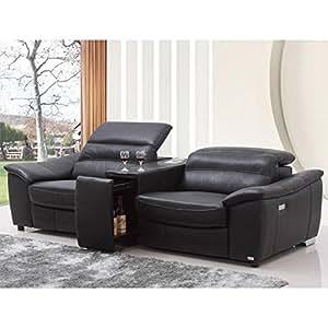 Amazoncom vig donovan divani casa modern black italian for Small sectional sofa amazon