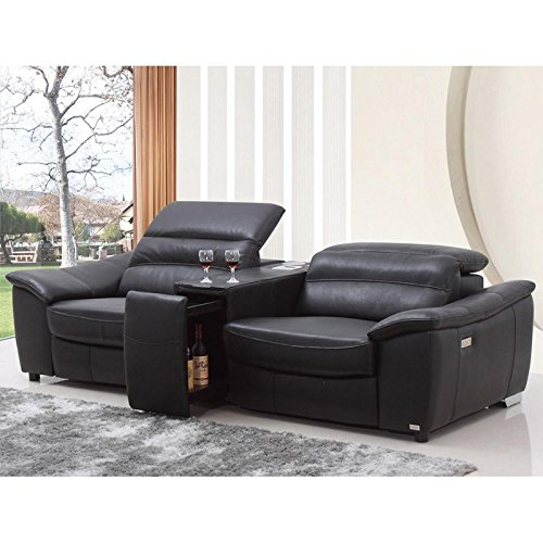 VIG- Donovan Divani Casa Modern Black Italian Leather Recliner Sofa With Wine Cabinet