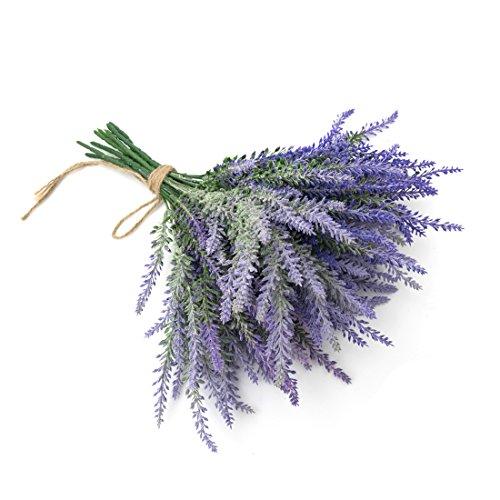 PUOPEI Artificial Lavender Bouquet Spray Arrangement - Nearly Natural 14Flowers 8pc Bundles for Household Garden Foam Table Desk Decor and Wedding Decoration & Events ,(Purple)