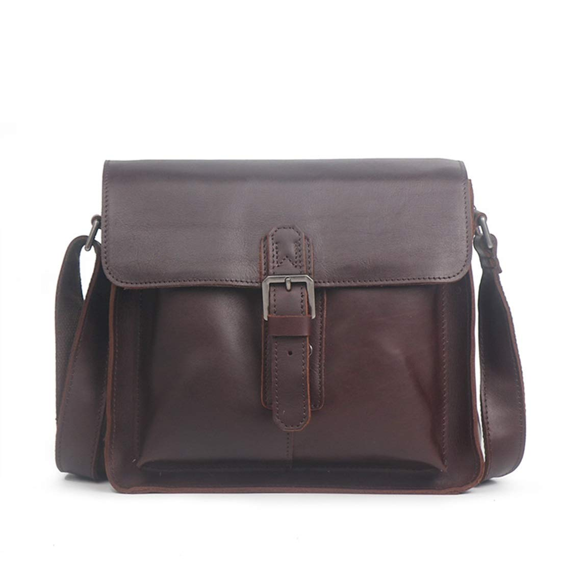 KRPENRIO Briefcase Mens Leather Chest Shoulder Crossbody Waist Bag Color : Dark Brown