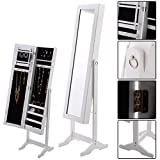 Black / White Mirrored Jewelry Cabinet Storage Box - By Choice Products (White)