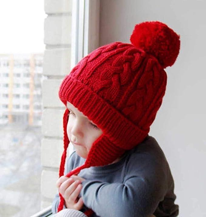 YIQI Tejer Orejeras de Lana-Invierno bebé Lengua niña niño Pesca cálido frío Sombrero-Prendas de Punto,Rojo: Amazon.es: Hogar
