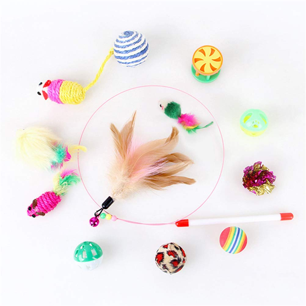 SmileyUS 12PCS Cat Toys Interactive Kitten Toys Assortments Feather Teaser Wand Mice Crinkle Balls Toys for Chewing Playing