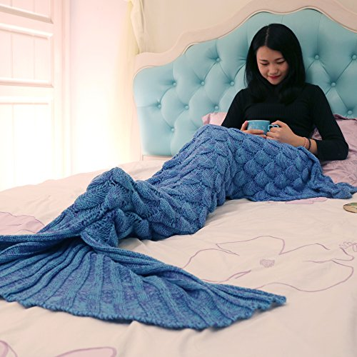Super Soft Handmade Mermaid Tail Blanket Sofa Blankets All Seasons Living Room Sleeping Blanket Gift for Adult and Kids, Blue with Scale (Day Sales Boxing Sofa)