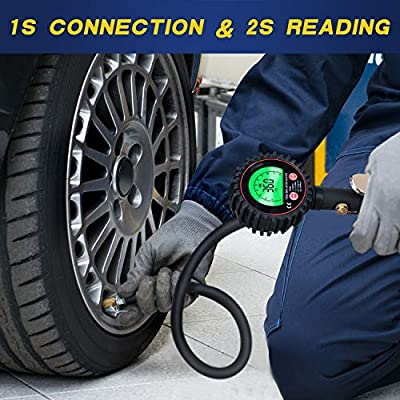 TiGaAT Digital Tire Pressure Gauge Inflator, Accurate 200 PSI Air Chuck and Compressor Accessories for Car Bike Rv Truck Automobile and Motorcycle (Green): Automotive