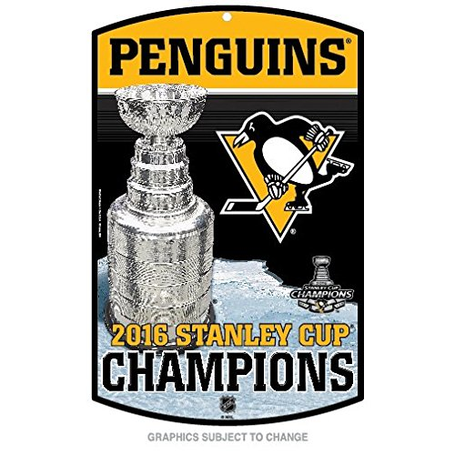 Pittsburgh Penguins Champions Official NHL 2016 Stanley Cup Sign 11x17 Wood Champs Wincraft 647832