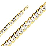 Wellingsale 14k Yellow Gold SOLID 14mm Polished Cuban White Pave Diamond Cut Chain Necklace - 24''