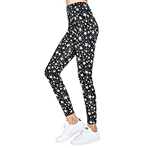 ililily Women S-4XL Lightweight Stretchy Comfy Leggings Basic Footless Pants , White Stars , US-X-Large