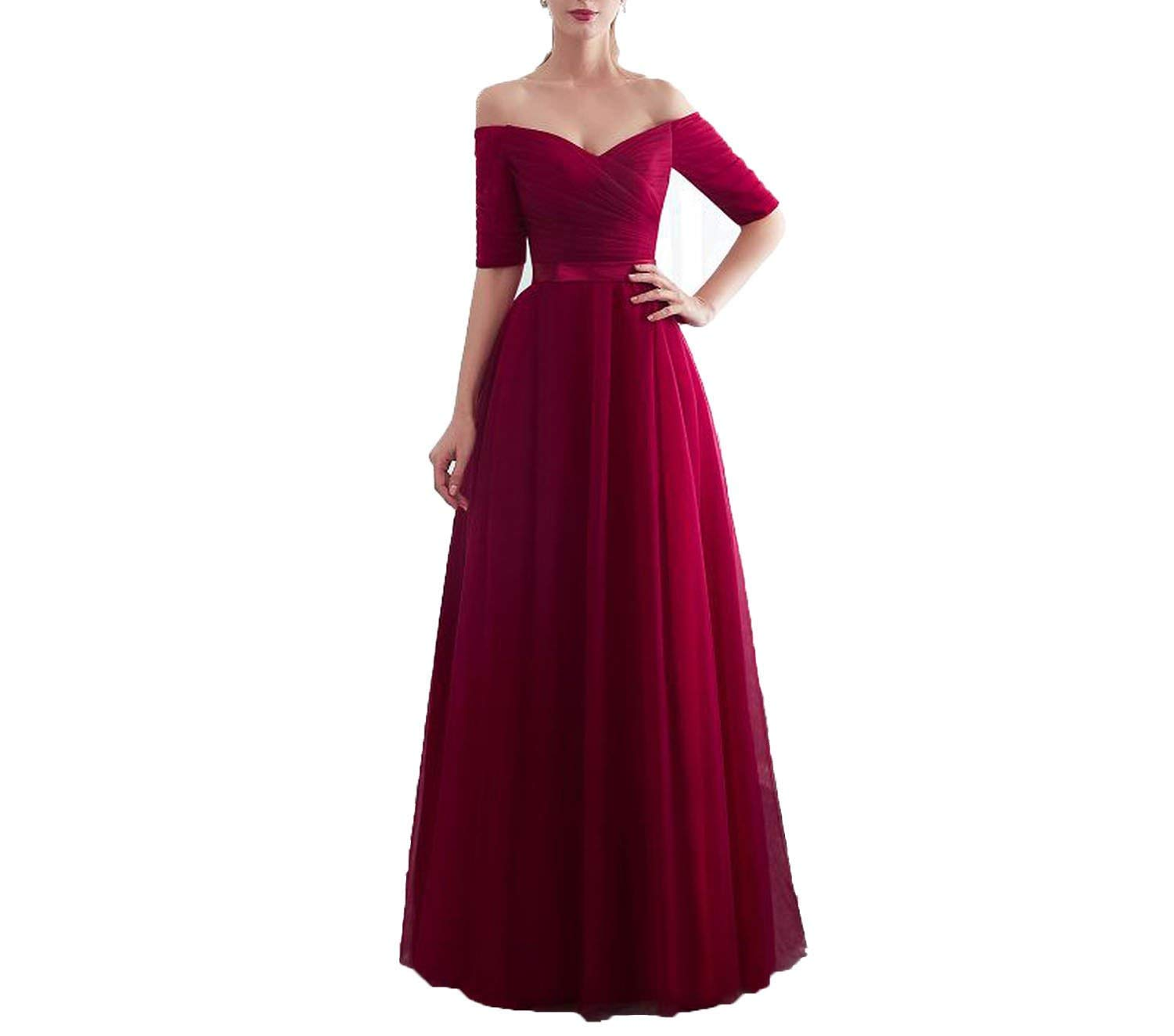 Red Bridesmaid Dresses Satin Tulle A-Line