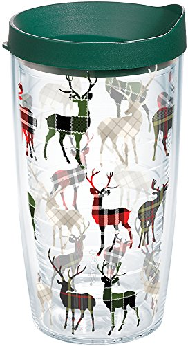 Tervis 1168980 Plaid Reindeer Tumbler with Wrap and Hunter Green Lid 16oz, Clear ()