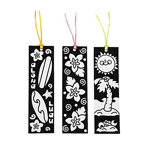 Fun Express - Cyo Fuzzy Luau Bookmarks - Craft Kits - CYO - Fuzzy - Bookmarks - 12 Pieces