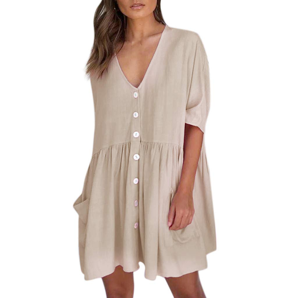 Womens A-Line Mini Dress Solid Loose V-Neck Casual Half Sleeve Button Pocket Short Dress (XL, Khaki)