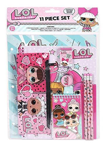 (Licensed LOL LOL Surprise! 11pc Stationery Set in bag(Portfolio Folders, notebook, memo pad,)