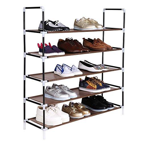 Leoneva 5 Tiers Shoe Rack 25 Pairs Stand Shelf ...