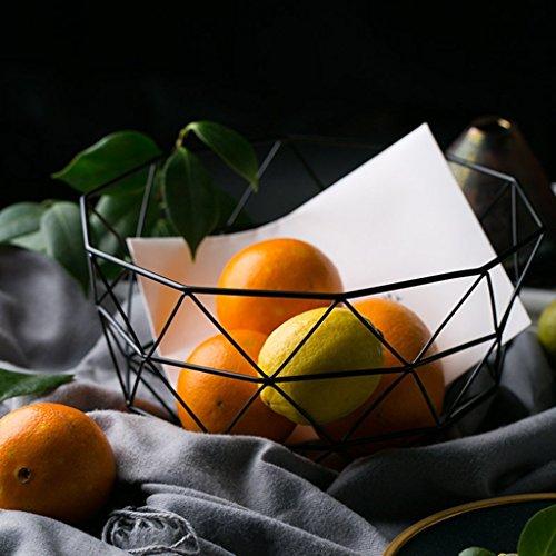 He Xiang Ya Shop Black iron storage basket simple living room hollow fruit basket desktop storage rack decorative ornaments by He Xiang Ya Shop (Image #3)'