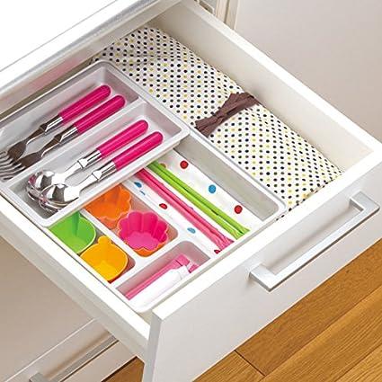Organizador/cajón ampliable divisores de cubertería, Double Deck cajón que contiene el cuadro de