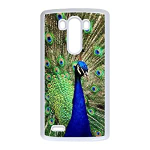 Colorful Peacock Feather LG G3 Cell Phone Case White LMS3881445