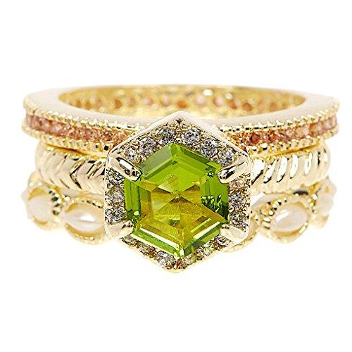 18k Peridot Ring (Wholesale 2 Set Pack Peridot Quartz & Simulated Diamonds 18k Gold Clad Wholesale Gemstone Fashion Jewelry Stackable Ring Set)
