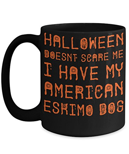 Halloween American Eskimo Dog Mug - White 11oz Ceramic Tea Coffee Cup - Perfect For Travel And -
