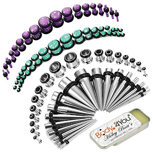 BodyJ4You 73PC Gauges Kit Ear Stretching Aftercare Balm 14G-00G Blue Purple Acrylic Plug Steel Taper