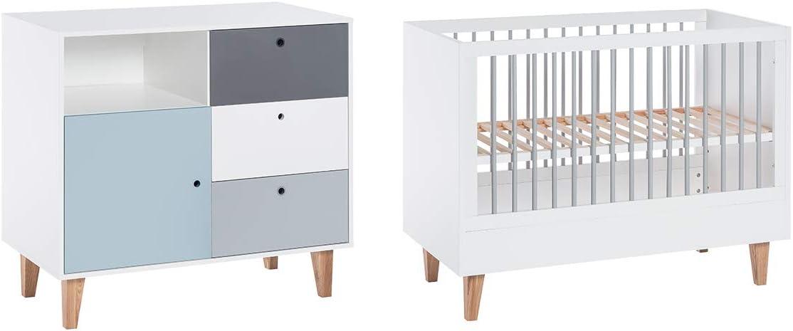 Cuna 60 x 120 y cómoda cambiador Vox Concept – azul: Amazon.es: Bebé