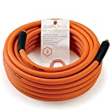 Air Hose, Hybrid, 3/8 in.x 50 Ft, 1/4 in. MNPT Fittings, 300 PSI,Non-Kinking,Soft and Lightweight. Extreme All-Weather Flexibility, Excellent Uv, Oil and Abrasion Resistant, Giraffe Tools