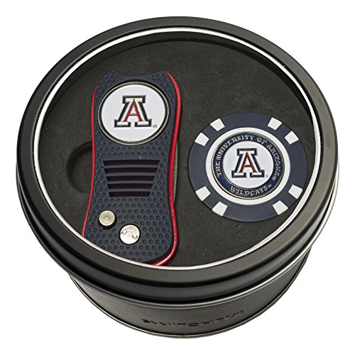 (Team Golf NCAA Arizona Wildcats Gift Set Switchblade Divot Tool & Chip, Includes 2 Double-Sided Enamel Ball Markers, Patented Design, Less Damage to Greens, Switchblade Mechanism)
