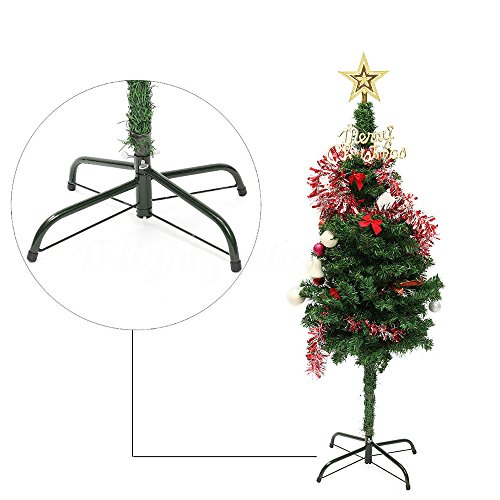 Christmas Tree Stand Green Metal Holder Base Cast Iron Stand 4 Feets Accessories Decoration New Year Gift (Green)