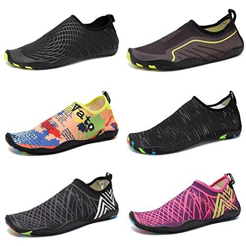 CIOR Men Women Kid's Barefoot Quick-Dry Water Sports Aqua Shoes with 14 Drainage Holes for Swim, Walking, Yoga, Lake, Beach, Garden, Park, Driving,DND012,1Black,39 0