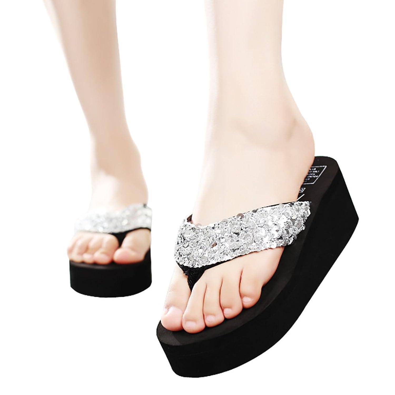 4f64e6937a9 best Platform Sandals Flip Flops Wedge Sequin for Women Beach Silver Black  Red Brown Glod