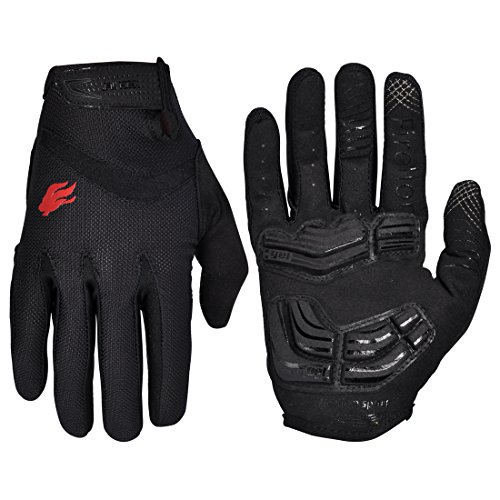 FIRELION Cycling Gloves Mountain Bike Gloves Road Racing Bicycle Gloves Gel Pad Riding Gloves Touch Screen Full Finger Gloves Black Medium (Mountain Road Bike)