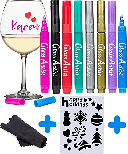Cute Halloween Stencils (ORIGINAL Glass Artist Wine Glass Markers - Pack of 8 + Drawing Stencil, Premium Metallic Drink Markers , Wine Glass Charms, Erasable and Safe - Wine Accessories Gift)