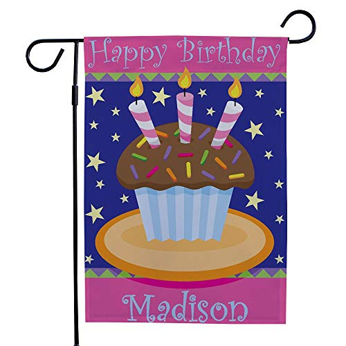 GiftsForYouNow Personalized Birthday Cake Double Sided Garden Flag, 12 1/2