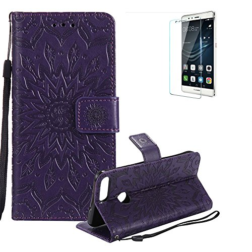 Price comparison product image Funyye Strap Magnetic Flip Cover for Huawei P Smart, Premium Purple Sunflower Embossed Pattern Folio Wallet Case with Stand Credit Card Holder Slots PU Leather Case for Huawei P Smart