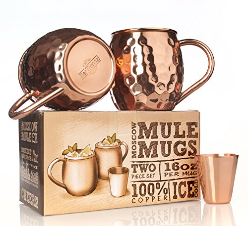 BarTrendz Premium Moscow Mule Copper Mugs Set of 2 Bonus Copper Shot Glass - Two 16 oz Copper Cups for Moscow Mules - Solid 100% Hammered Copper - Virtual Glasses Try